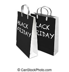 achats, friday., luxe, sac, deux, noir