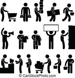 achats, gens, vente, charrette, file, homme