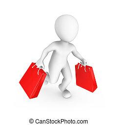 achats, gens., vente, petit, concept., 3d