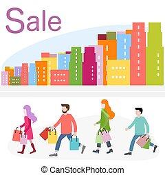 achats, grand, concept., city., vente