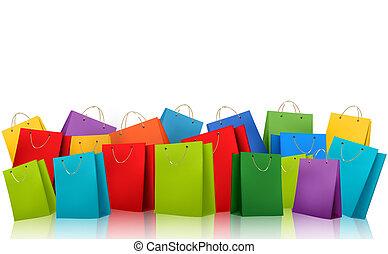 achats, illustration., coloré, concept., escompte, vecteur, fond, bags.