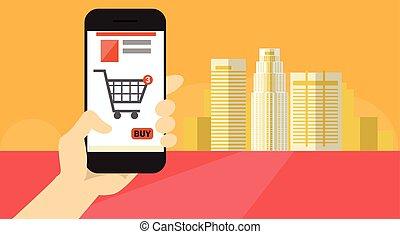 achats, intelligent, bannière, ligne, cellule, prise, main, téléphone, application