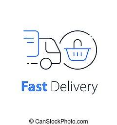 achats, ligne, distribution, camion, livraison, panier, achat, expédition, icône, ordre