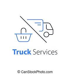 achats, livraison, ordre, camion, expédition, ligne, achat, icône, panier, distribution