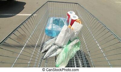achats, lot, charrette, stationnement