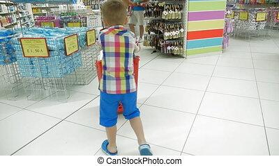 achats, magasin, charrette, enfant