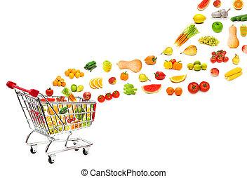 achats, nourriture, voler, charrette, produits, dehors