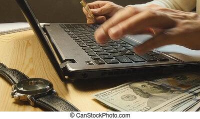 achats, online:, crédit, paiement faisant, carte