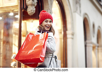 achats, pendant, portrait femme, noël, heureux
