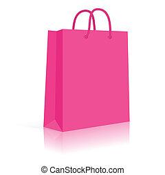 achats, pink., corde, sac, vecteur, papier, vide, handles.