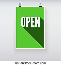 achats, porte, planche, ouvrir signes