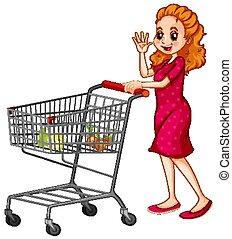 achats, pousser, charrette, fond, blanc, femme