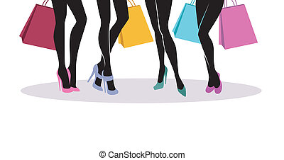 achats, silhouette, filles