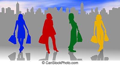 achats, silhouettes, femelles