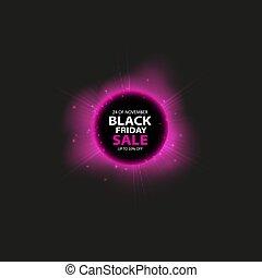 achats, solaire, coloré, banner., affiche, résumé, vendredi, éclipse, effet, vente, arrière-plan., incandescent, conception, gabarit, lumière, milieu noir, total, ou, rouges