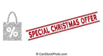 achats, spécial, ligne, offre, mosaïque, timbre, escompte, détresse, noël