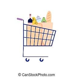 achats, supermarché, rempli, charrette nourriture, isolé, conception