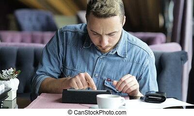 achats, tablette, restaurant, ligne, crédit, numérique, carte