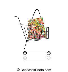 achats, ton, charrette, sac, conception, supermarché