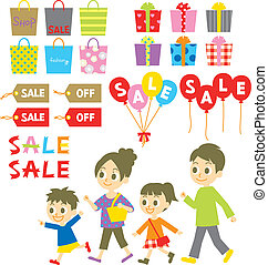 achats, vente, étiquettes, famille, coût