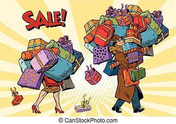 achats, ventes, vacances, couple, femme homme