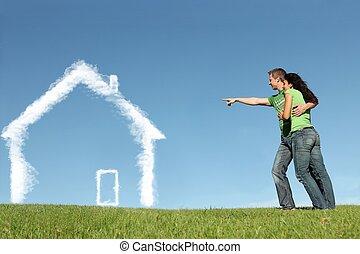 acheteurs, concept, maison, prêt, hypothèque, nouvelle maison