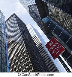 acier, bâtiments, bureau, moderne, inférieur, verre, manhattan