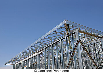acier, cadre, construction