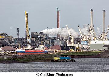 acier, cargaison, port, usine, ijmuiden, porteur, hollandais, devant