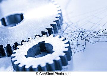 acier, connexion, roues dentées, dessin
