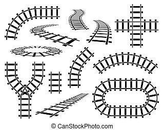 acier, directement, ferroviaire, chemin fer, construction, courbé, rails, rail, barres, vecteur, tracks., ondulé, vue, elements., ensemble, route, perspective, sommet