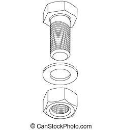 acier, illustration., sans tache, nut., vecteur, boulon