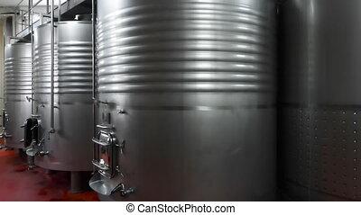 acier, industriel, sans tache, brewery., moderne, cuves