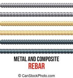 acier, interminable, rebars., renforcement, composite.