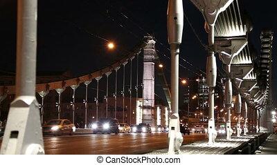 acier, pont, voitures, (night)--, moscou, trafic, crimean, russia., suspension, krymsky, ou