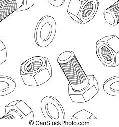 acier, sans tache, écrou, papier peint, seamless, boulon