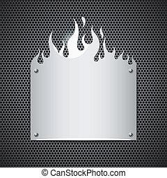 acier, sans tache, flammes, brûler, vecteur