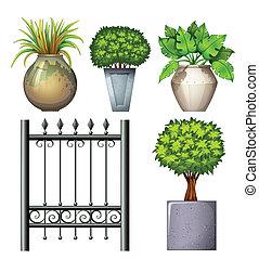 acier, usines, potted, portail