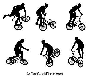 acrobatie, silhouettes, cyclistes