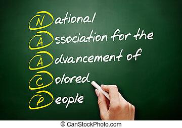 acronyme, concept, naacp, tableau noir