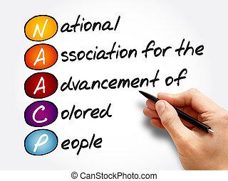 acronyme, naacp, concept, fond