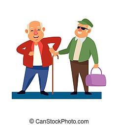 actif, canne, personne agee, caractères, vieux, hommes, sac main