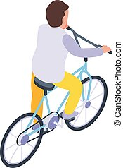 actif, cyclisme, style, icône, gosse, isométrique