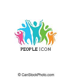 actif, gens, icône