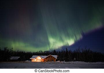 actif, lumières, alaska, nord, exposer