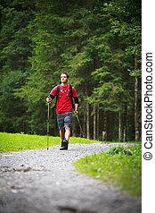 actif, marche, homme, nordique, jeune