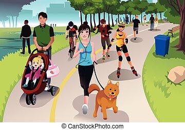 actif, parc, gens