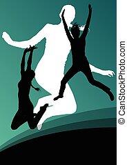 actif, saut, silhouettes, jeunes femmes