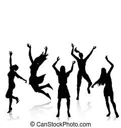 actif, silhouettes, femmes heureuses