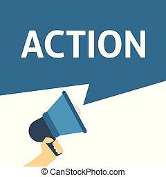 action, annonce, porte voix, tenant main